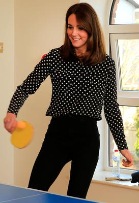 The Duchess of Cambridge enjoys table tennis in the centre during a visit to Extern at Savannah House, in County Meath, near Dublin, as part of her three day visit to the Republic of Ireland. PA Photo. Picture date: Wednesday March 4, 2020. See PA story ROYAL Cambridge. Photo credit should read: Gerry Mooney/PA Wire