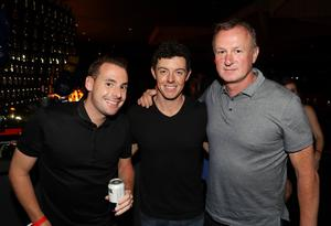 Steven Davidson, Rory McIlroy and Michael O'Neill pictured at the Carl Frampton v Leo Santa Cruz bout in Saturday nights WBA featherweight title contest at the Barclays Centre, Brooklyn, NY.  Press Eye - Belfast -  Northern Ireland - 30th July 2016 - Photo by William Cherry