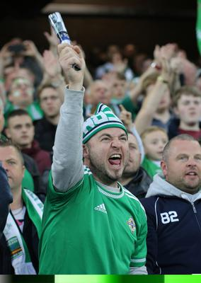Northern Ireland's fans during today's game at Windsor Park in Belfast.  Photo David Maginnis/Pacemaker Press