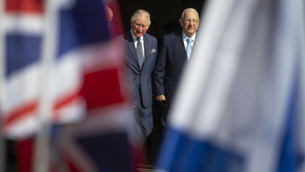 Charles with President Reuven Rivlin, right, at his official residence in Jerusalem (Victoria Jones/PA)