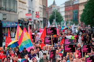 Protesters at a rally calling for the legalisation of same-sex marriage in Northern Ireland