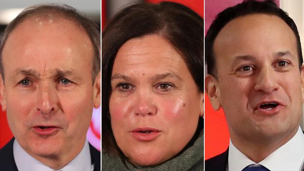 Micheal Martin, Mary Lou McDonald and Leo Varadkar (PA)