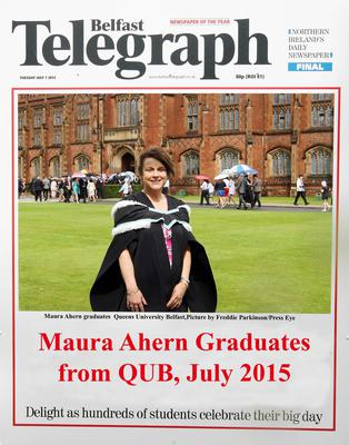 Mandatory Credit - Picture by Freddie Parkinson/Press Eye ? Tuesday 7th July 2015 Graduations Queen University Belfast. Maura Ahern from Glengormley graduates in Queen University Belfast with Business Management.