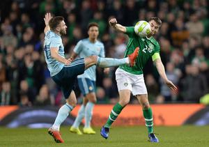 PACEMAKER BELFAST  15/11/18 Republic of Ireland v Northern Ireland International Friendly Northern Ireland's Stuart Dallas  and Republic of Ireland's Seamus Coleman during this evenings game  at the Aviva Stadium in Dublin. Photo Colm Lenaghan/Pacemaker Press