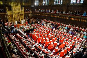 LONDON, ENGLAND - MAY 08:  Britain's Queen Elizabeth II delivers her speech during the State Opening of Parliament on May 8, 2013 in London, England. Queen Elizabeth II unveiled the coalition government's legislative programme in a speech delivered to Members of Parliament and Peers in The House of Lords. Proposed legislation is expected to be introduced on toughening immigration regulations, capping social care costs in England and setting a single state pension rate of 144 GBP per week.  (Photo by Toby Melville - WPA Pool/Getty Images)