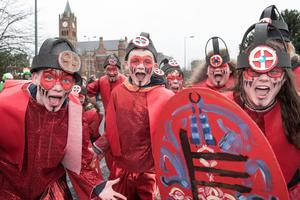 The warriors  from St. Mary's Youth Club pictured during Derry City and Strabane District Council's the annual Spring Carnival on St. Patrick's Day in Derry-Londonderry. Picture Martin McKeown. Inpresspics.com. 17.03.17