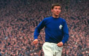 Alex Ferguson in the blue shirt of Rangers, who he played for from 1967 to 1969.