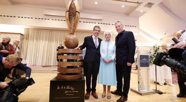 Kyle Paisley, Baroness Paisley and Ian Paisley with the sculpture. Credit: Presseye