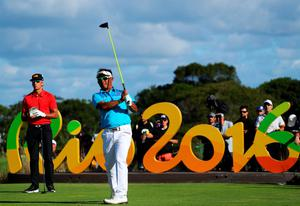 RIO DE JANEIRO, BRAZIL - AUGUST 11:  Thongchai Jaidee of Thailand plays his shot from the 16th tee during the first round of men's golf on Day 6 of the Rio 2016 Olympics at the Olympic Golf Course on August 12, 2016 in Rio de Janeiro, Brazil.  (Photo by Scott Halleran/Getty Images)