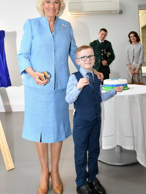 There she met Henry Coles, nine, from Bristol, who dialled 999 when his mum Bethany Uren, 31, was taken ill (Ben Birchall/PA)