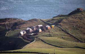 17/02/20.. The site where a film set is being erected on Torr Head County Antrim, a remote area of Northern Ireland.Pic Steven McAuley/McAuley Multimedia