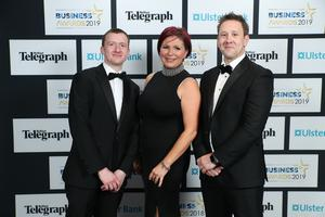 Press Eye - Belfast - Northern Ireland - 2nd May 2019 -   Darren Dickson , Emmas Hanna and Gavin Neill pictured at the Belfast Telegraph Business Awards in association with Ulster Bank at the Crowne Plaza Hotel, Belfast. Photo by Kelvin Boyes / Press Eye.