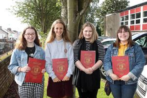Mandatory Credit - Picture by Freddie Parkinson/Press Eye © Thursday 15 August 2019 Ballyclare High School A Level Results on the increase once again in Ballyclare High School. Fay Hunter 2A* A, Edel McIlroy 3A , Aimee Hamilton 3A* and Aimee Jenkins A* A B.