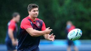 Ben Youngs passes the ball during a training session. David Rogers/Getty Images