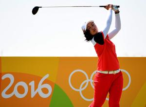 RIO DE JANEIRO, BRAZIL - AUGUST 15:  Xiyu Lin of China in acton during a practice round prior to the Women's Individual Stroke Play golf at the Olympic Golf Course at Olympic Golf Course on August 15, 2016 in Rio de Janeiro, Brazil.  (Photo by Ross Kinnaird/Getty Images)