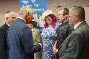 HRH The Prince of Wales meets members of the Hebrew Community at the Belfast Hebrew Congregation.  Photo by Aaron McCracken