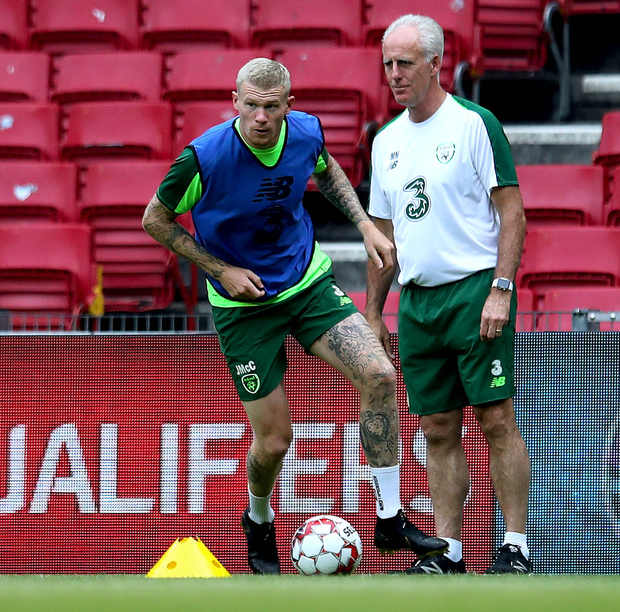 Battle ready: James McClean and Republic boss Mick McCarthy at training yesterday