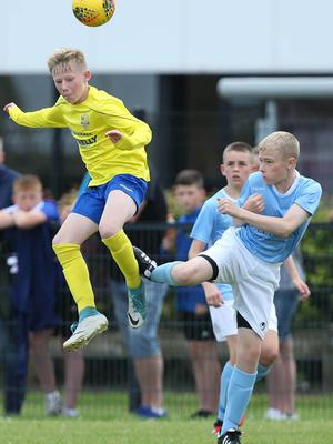 PressEye-Northern Ireland- 1st August 2019-Picture by Brian Little/PressEye Dungannon United Youth Sam Anderson   and Ballymena United Callum McDowell in  STATSports SuperCupNI  Semi Final , at Anderson Park, Coleraine . Picture by Brian Little/PressEye