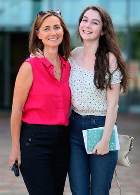 Orla Kearney with her mother Moya Kearney after collecting her A-level results at Our Lady and Saint Patrick's College, Belfast. PRESS ASSOCIATION Photo. Picture date: Thursday August 17, 2017. See PA story EDUCATION Alevels Ulster. Photo credit should read: Brian Lawless/PA Wire