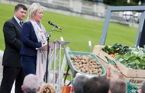 FILE PICTURE 4rd September  2015 Fatmers and producers from all sections of the food producing industry hold protest at Stormont regarding the ongoing crisis concerning the price of food.  Northern Ireland's Department of Rural Development Michelle O'Neill addresses the protest.  Picture by Jonathan Porter/PressEye