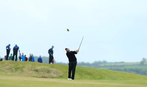 Press Eye - Belfast - Northern Ireland - 9th July 2017   Day four of the Dubai Duty Free Irish Open Hosted by the Rory Foundation at Portstewart Golf Club, Co.Derry / Co. Londonderry, Northern Ireland.  Shane Lowry plays into the 18th green  Picture by Matt Mackey / presseye.com