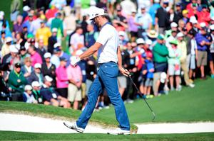 AUGUSTA, GEORGIA - APRIL 07:  Dustin Johnson of the United States prepares to play from a bunker on the second hole during the first round of the 2016 Masters Tournament at Augusta National Golf Club on April 7, 2016 in Augusta, Georgia.  (Photo by Harry How/Getty Images)