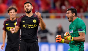 Manchester City's Sergio Aguero after missing a penalty against Steaua Bucharest