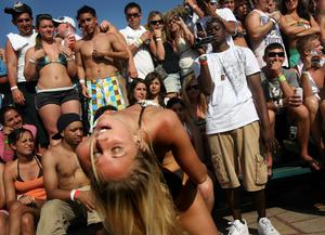 "Students participate in a ""booty shaking"" contest on South Padre Island, Texas"