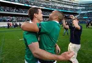 CHICAGO, IL - NOVEMBER 05:  (L-R) Jonny Sexton and Simon Zebo of Ireland celebrate following their team's 40-29 victory during the international match between Ireland and New Zealand at Soldier Field on November 5, 2016 in Chicago, United States.  (Photo by Phil Walter/Getty Images)