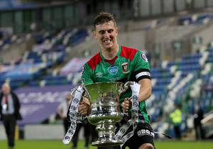 Press Eye - Belfast, Northern Ireland - 31st July 2020 - Photo by William Cherry/Presseye  Glentoran's Marcus Kane celebrate winning the Sadler's Peaky Blinder Irish Cup after defeating Ballymena United during Friday nights Final at the National Stadium at Windsor Park, Belfast.    Photo by William Cherry/Presseye