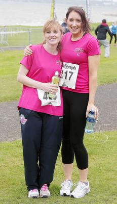 Northern Ireland- 23rd May 2014 Mandatory Credit - Photo-Jonathan Porter/Presseye.  Belfast Telegraph RunHer 10k coastal challenge from Seapark to Crawfordsburn.  Left to right.  Helen Grimley and Mollie Grozier from Craigavon pictured at Seapark before the race.