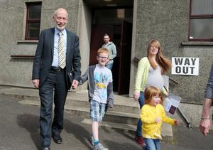 Press Eye - Belfast - Northern Ireland - 5th May 2016 Alliance leader David Ford arrives Voters at Donegore Presbyterian Church polling station in Co Antrim to cast their vote.  Picture by Jonathan Porter/PressEye
