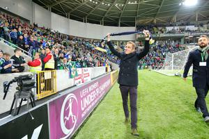 Press Eye - Belfast - Northern Ireland - 8th October 2016 -   The National Football Stadium at Windsor Park Opening Game and Ceremony  Northern Ireland vs San Marino 2018 FIFA World Cup Qualifier  Jim Nesbitt  pictured at the official opening ceremony.  Photo by Kelvin Boyes / Press Eye