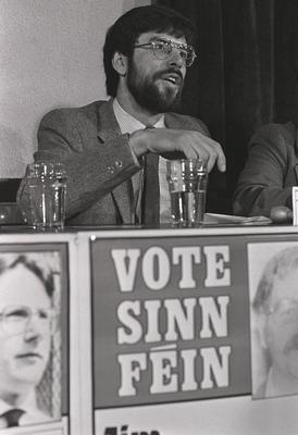 Sinn Fein Press Conference announcing Manifest. Included in picture are Gerry Adams, Danny Morrison and Owen Carron.  Pacemaker Press Intl.  May 1983.  537/83/BW