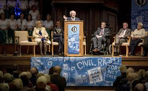 Irish President Michael D Higgins delivers keynote address during the Civil Rights Festival commemorating the 50th anniversary of the historic civil rights rally in Londonderry on October 6th 2018 (Photo by Kevin Scott / Belfast Telegraph)