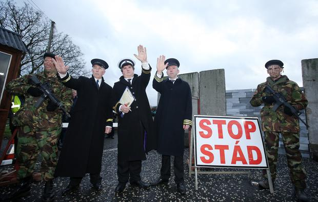Border Communities Against Brexit staged protest on the old Dublin Road outside Newry. Picture by Jonathan Porter/PressEye