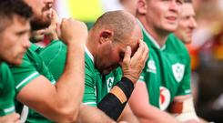 Ireland captain Rory Best looks dejected in the final stages of his side's heavy defeat at Twickenham.