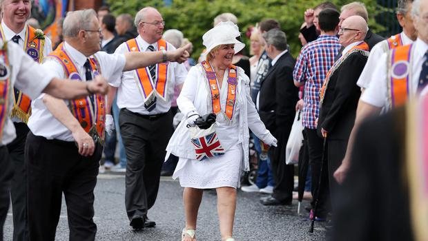 Press Eye Photography - Northern Ireland - 13th July 2015  Members of the Orange Order take part in the annual Twelfth July celebrations in Belfast city Centre this morning.  Picture by Kelvin Boyes / Press Eye