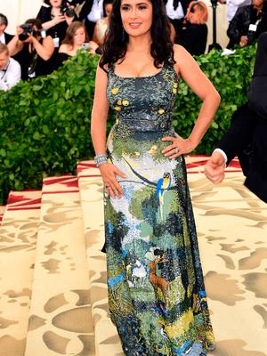 Salma Hayek attending the Metropolitan Museum of Art Costume Institute Benefit Gala 2018 in New York, USA. PRESS ASSOCIATION Photo. Picture date: Monday May 7, 2018. See PA story SHOWBIZ MET Gala. Photo credit should read: Ian West/PA Wire