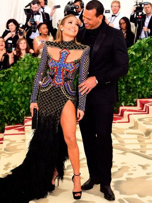 Jennifer Lopez and Alex Rodriguez attending the Metropolitan Museum of Art Costume Institute Benefit Gala 2018 in New York, USA. PRESS ASSOCIATION Photo. Picture date: Monday May 7, 2018. See PA story SHOWBIZ MET Gala. Photo credit should read: Ian West/PA Wire