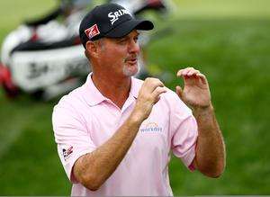 LOUISVILLE, KY - AUGUST 07:  Jerry Kelly of the United States reacts on the ninth green during the first round of the 96th PGA Championship at Valhalla Golf Club on August 7, 2014 in Louisville, Kentucky.  (Photo by Andy Lyons/Getty Images)