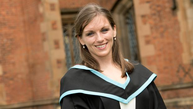 Hannah graduated with a degree in medicine from Queen's University Belfast recently returning from Zambia, where she was distributing life-saving devices,to attend graduation.