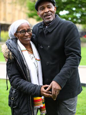 Paulette Wilson, 62, who arrived from Jamaica in 1968, and Anthony Bryan, 60, who arrived from Jamaica in 1965, during a photocall in Westminster (Yui Mok/PA)