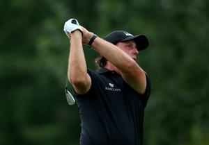 LOUISVILLE, KY - AUGUST 10:  Phil Mickelson of the United States hits a tee shot on the eighth hole during the final round of the 96th PGA Championship at Valhalla Golf Club on August 10, 2014 in Louisville, Kentucky.  (Photo by Jeff Gross/Getty Images)
