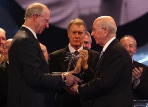 Charlton presented his brother Sir Bobby with the Lifetime Achievement Award at the BBC Sport Personality of the Year Awards in 2008 (David Davies/PA)