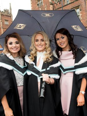 Celebrating graduation success from Queens University Belfast are Dearbhla McErlean, Aoife Quinn and Cliodhna McFadden. All three are graduating with a degree in Liberal Arts from St Mary's University College Belfast.