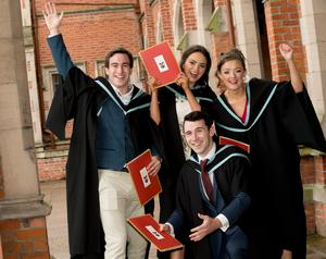 Celebrating success today from Queens University Belfast include (L-R) Gary Reel, Fiona McAteer, Niamh Donaghy and Cathal McKeown who are graduating with a degree in Primary Education from St Mary's University College Belfast