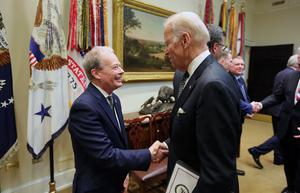File picture of Norman Houston  who worked for the Northern Ireland Executive pictured in Washington with Joe Biden in 2016. Photo by Kelvin Boyes / Press Eye.
