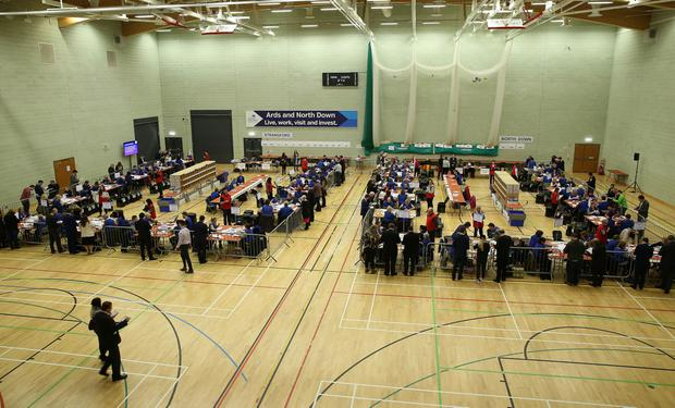 Press Eye - Belfast - Northern Ireland - 3 March 2017 - NI Assembly Election 2017 Count at Aurora Leisure Complex in Bangor for Strangford and North Down constituencies. Verification of the Strangford and North Down vote starts. Photo by Brian Little / Press Eye.