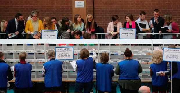 Counting continues at the Seven Towers Leisure Centre, Ballymena, in Northern Ireland's Assembly election. PRESS ASSOCIATION Photo. Picture date: Friday March 3, 2017. This is the second contest in less than a year and early indications are that turnout has been higher than expected. See PA story ULSTER Election. Photo credit should read: Niall Carson/PA Wire